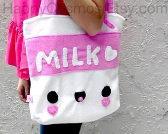 Milk Tote Bag - Schoolbag, Backpack, Bookbag, Reusable Bag, Beach Bag, Women's Tote, Christmas Gift, Halloween Trick or Treat Bag