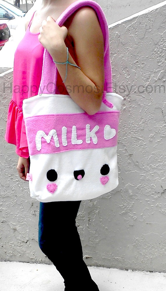 Milk Tote Bag - Schoolbag, Backpack, Bookbag, Reusable Bag, Beach Bag, Women's Tote, Christmas Gift, Halloween Trick or Treat Bag