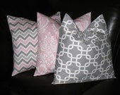 """Pillows Decorative Pillows TRIO Chain Link, Damask, Chevron 18x18 inch Throw Pillow Covers gray 18"""" storm grey, baby pink, white"""