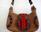 Vintage Mini Purse Native American Tribal Brown Suede Leather