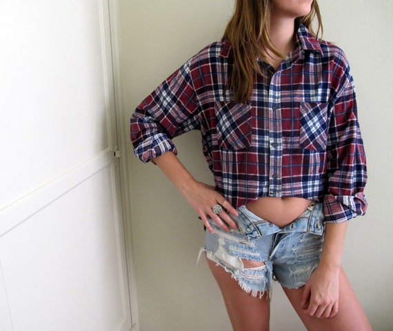 Plaid Flannel Crop Top Hi Lo High Low Cropped Shirt Womens Grunge