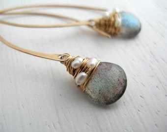 Labradorite and Pearl Hoops