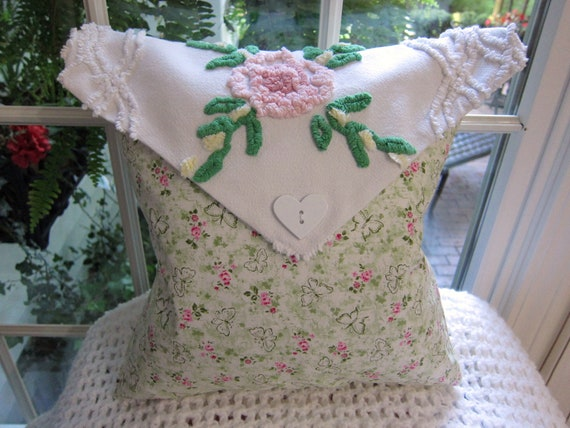 Envelope Pillow -w- Chenille Envelope Top & Karen Neuburger Floral Quilting Fabric Pillow Body - Shabby Chic - Chenille Bedspread