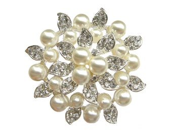1pc Pearl Crystal Rhinestone Brooch Component - Wedding Cake Decoration Brooch Bouquet Gift Box BRO-024 (56mm or 2.2inch)