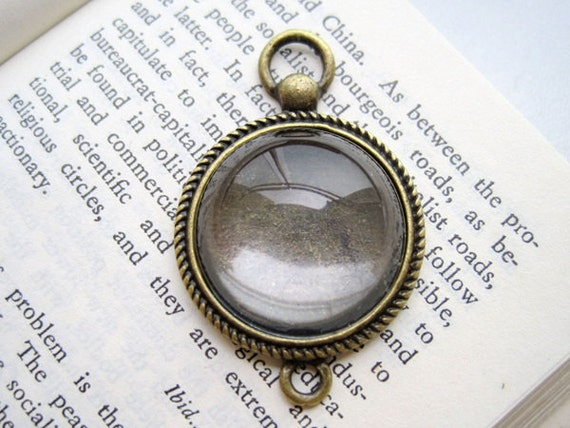 10PCS Antique Bronzed Tone 20mm Scroll Edged Vintage Clock Shaped Round Bezel Cup Cabochon/ Cameos Pendant Mountings with 2 rings