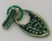 Handmade Artisan Ceramic Porcelain Leaf Toggle Clasp Pendant in Green 29103112