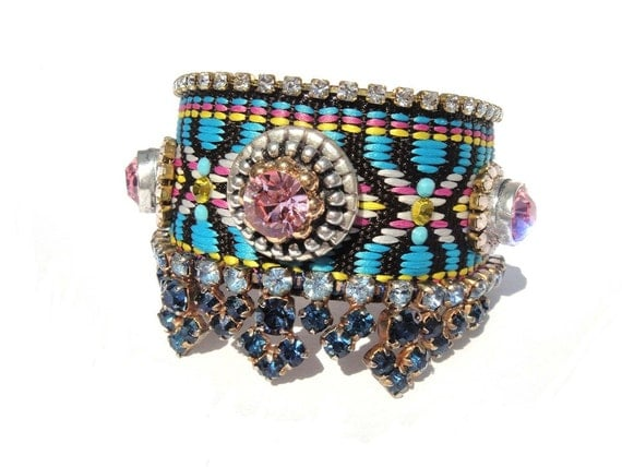 Tribal aztec cuff bracelet with studs and rhinestones in turquoise with pale pink accents - bohemian hippie style