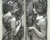 Alphonse Mucha style art nouveau plaques in silver or bronze effect