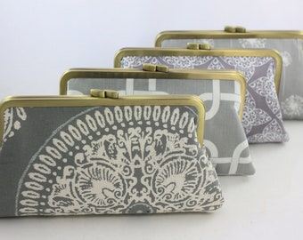 Grey & White Color Scheme - 8 inches Bridal and Bridesmaid's Antique Brass Frame Clutch - Set of 4