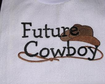 Boy's Embroidered Future Cowboy Bib