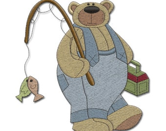 "BEAR  - ""Gone Fishing"" - Machine Embroidery Design"