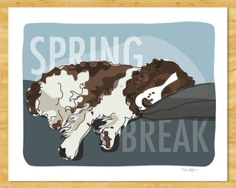 Springer Spaniel Art Print - Spring Break - Funny Dog Pop Art Prints Springer Spaniel Gifts