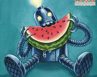 Robowatermelon - 8 x 8 art print - funky retro robot eating watermelon teal blue pink