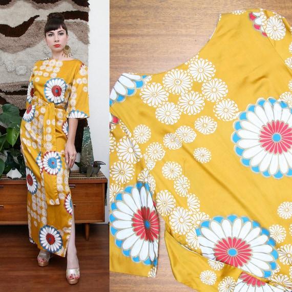 Vintage 60s Hawaiian Floral Print Maxi Dress Medium-Large
