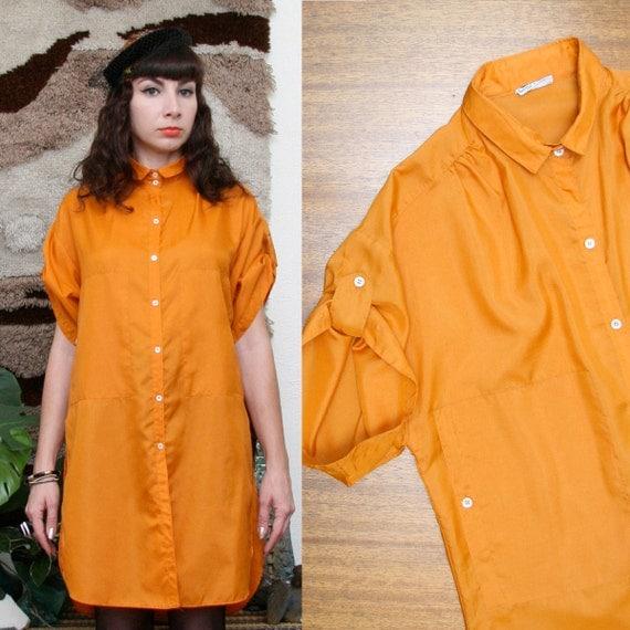 Vintage 90s Burnt Orange Avant Garde Blouse Tunic Medium