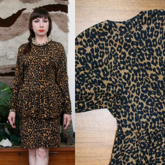 Vintage 80s 90s Animal Print Peplum Dress Small