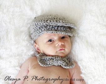 Download PDF crochet pattern 045 - Driver cap and bow (tie) - Size 0-3months