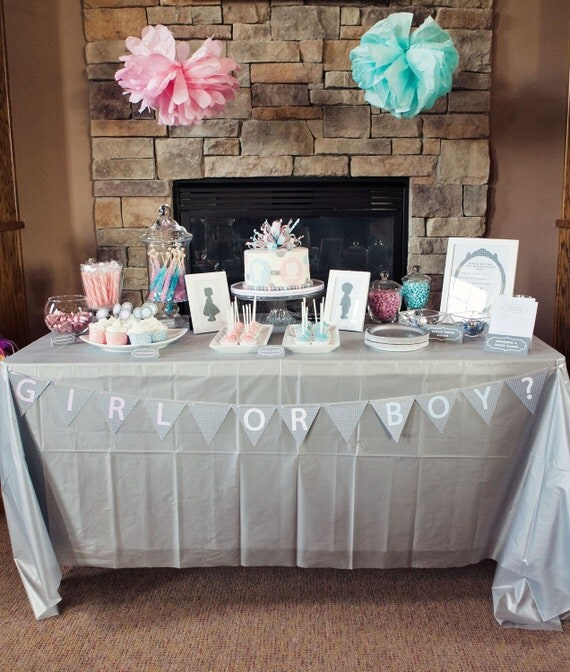 Items similar to gender reveal party matching supplies for Baby name decoration ideas