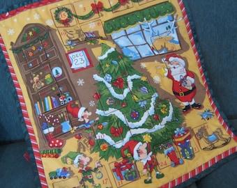 Christmas Advent Calendar Santa's Workshop, Christmas Decoration, Vintage Christmas, Holiday Decor,