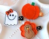 Fall Hair Clip Set for Halloween and Thanksgiving- Turkey, Pumpkin, and Ghost