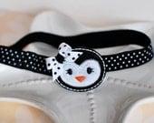 Black and White Polka Dot Penguin Headband