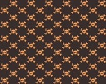 Riley Blake Designs Boo To You Orange Skulls Fabric - 1 yard