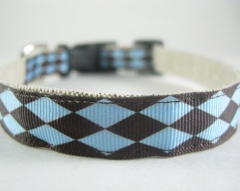 Blue and Brown Diamonds hemp dog collar or leash