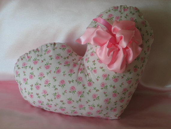 THROW PILLOW, Heart Shaped, Pink Roses, Shabby Chic, Big Puffy, Satin Pink Bow, Adorable.