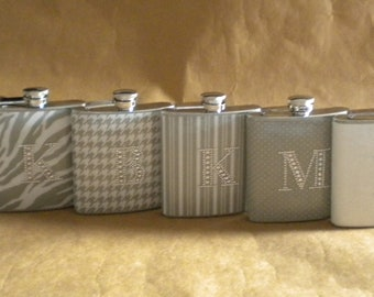 Bachelorette Party or Bridesmaids Gifts Special ANY 6 Print Design 6 ounce Flasks ALL with Rhinestone Initial KR2D6004