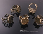 10PCS-Antique Bronze Plated Brass Adjustable Pad filigree ring base of 14mm(E312)