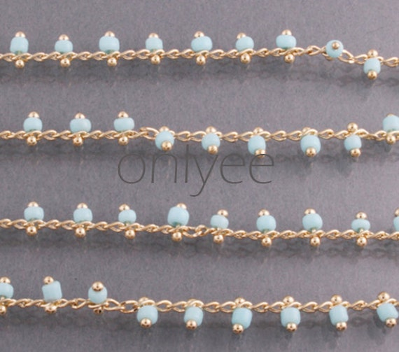 3FT(1M)- Chain Lacy Mint Color Seed Glass Bead, Gold Plated over Brass / 2.6mm(N105)