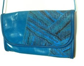 Blue Leather Purse Clutch Abstract Design