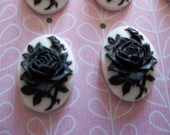 Blooming Black Rose Flower on White Cameo - 18 X 13mm Plastic Cabochons - Qty 6
