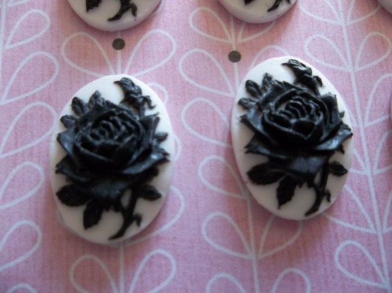 NEW: Blooming Black Rose Flower on White Cameo - 18 X 13mm Plastic Cabochons - Qty 6