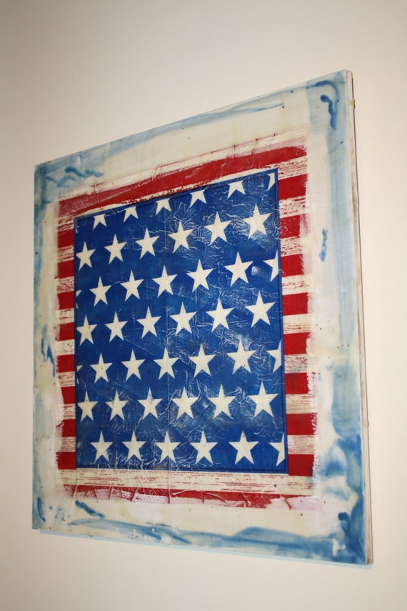 encaustic/mixed media-4th of July  painting