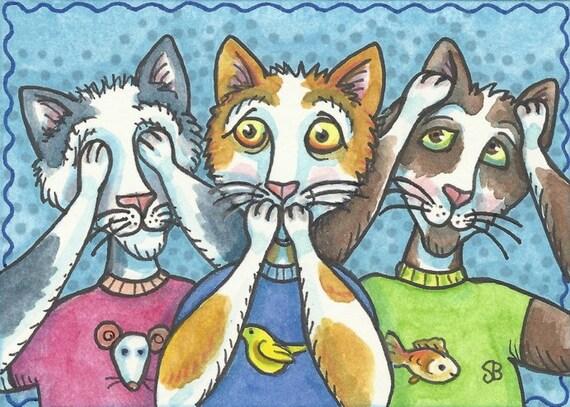 See No Evil Alley CATS Feline Speak No Evil Original Art ACEO Susan Brack Ebsq