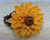 Yellow Sunflower Flower Bracelet on Black Floral Filigree Cuff
