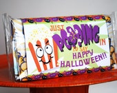 Halloween Popcorn Sheath, Trick or Treat Wrapper, Personalized Classroom Goodies, Printable jpeg for friends and neighbors