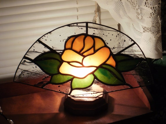 Stained Glass 'Tangerine Dream' Orange Rose Fan Lamp with Base - Perfect gift!