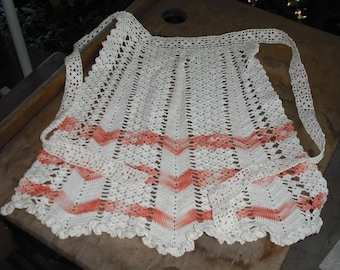 Vintage Peach White Hand Crocheted Half Apron Kitchen Retro Adult Clothing Delicate Accessory Ruffled Dining Home Party Entertaining