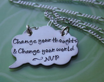 Change Your Thoughts Change Your World Quote Necklace