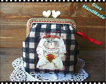 Wedding Cat Heart-bead metal frame purse / Coin Wallet / Pouch coin purse / Kiss lock frame purse bag-GinaHandmade