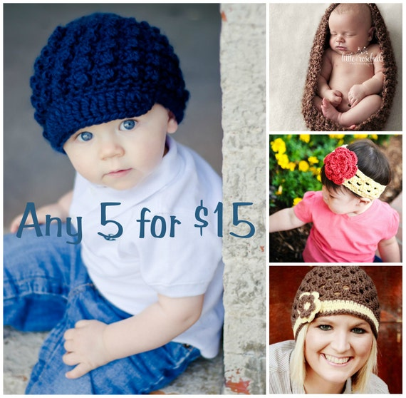 ANY 5 for 15 Dollars - Crochet Patterns - SELL what you make