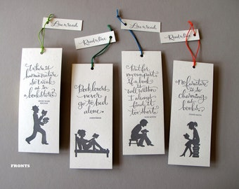 SET/ 4 LETTERPRESS BOOKMARKS