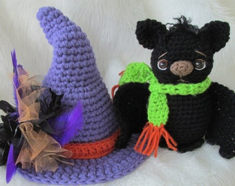 Crochet Pattern Bat and Witch Hat Set by Teri Crews instant download PDF format