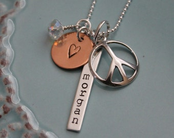 Peace and Love Necklace, Personalized Hand Stamped, Sterling Silver, Name and Charm Necklace