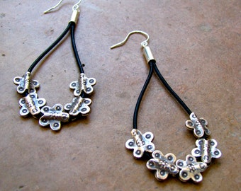 Handmade Black Leather and Sterling Silver Flower Bead Dangle Earrings
