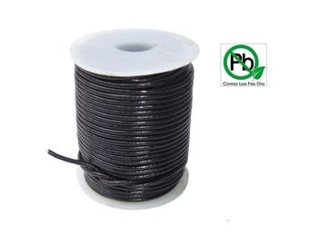 Round Leather Cord Black 2mm 25meters