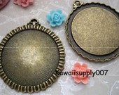 2pcs Antiqued solid brass plated 33mm bezel -Cameo Base Settings-Cabochon Pendant Trays (BCEAB)