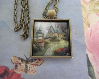 Beautiful Cottage with a Drinking Well in Front Necklace